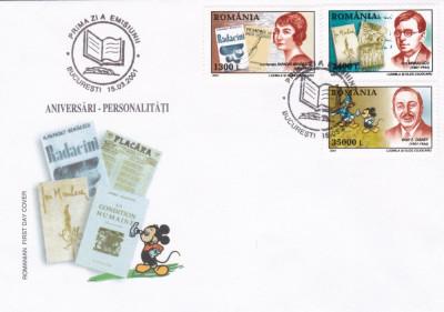 ROMANIA 2001  LP 1545  ANIVERSARI PERSONALITATI II  FDC foto