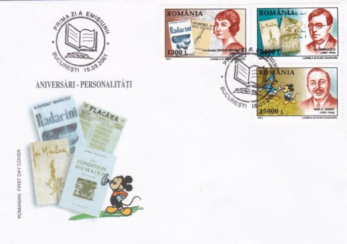 ROMANIA 2001  LP 1545  ANIVERSARI PERSONALITATI II  FDC