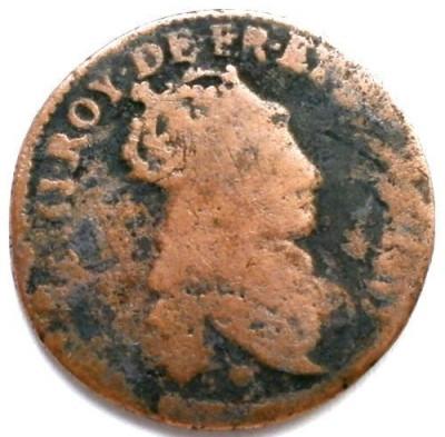 MOKAZIE , FRANTA , LOUIS XIV , 1 LIARD 1655-1658 , DIAMETRU 23mm. foto