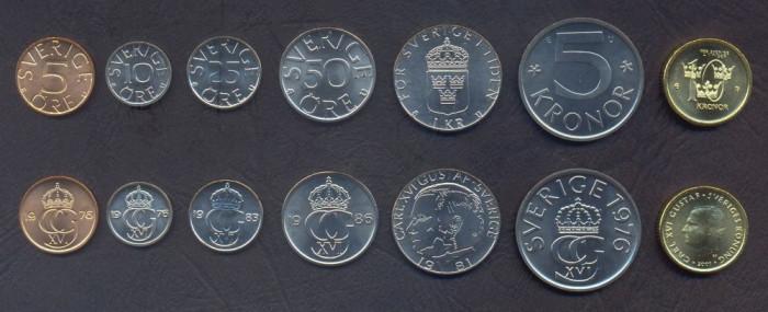 SUEDIA █ SET COMPLET DE MONEDE █ 5+10+25+50 Öre +1+5+10 Kronor █ 1976-2001 █ UNC foto mare