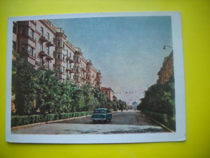 HOPCT  37956  RUSIA STALINGRAD /STRADA PACII  IN 1961-AUTOMOBIL-CIRCULATA foto mare