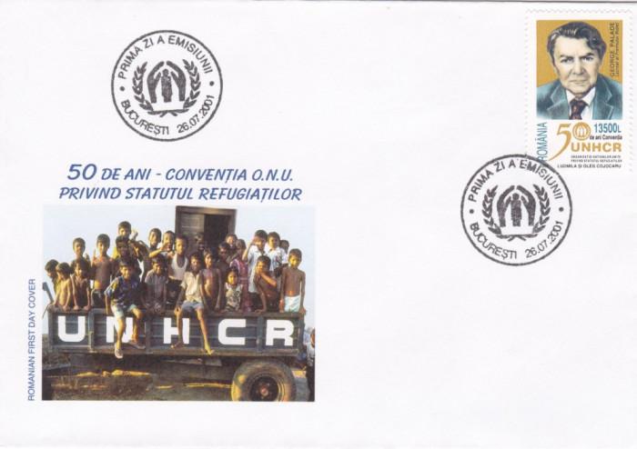 ROMANIA 2001  LP 1554  -  50 ANI CONVENTIA ONU- REFUGIATI  FDC foto mare