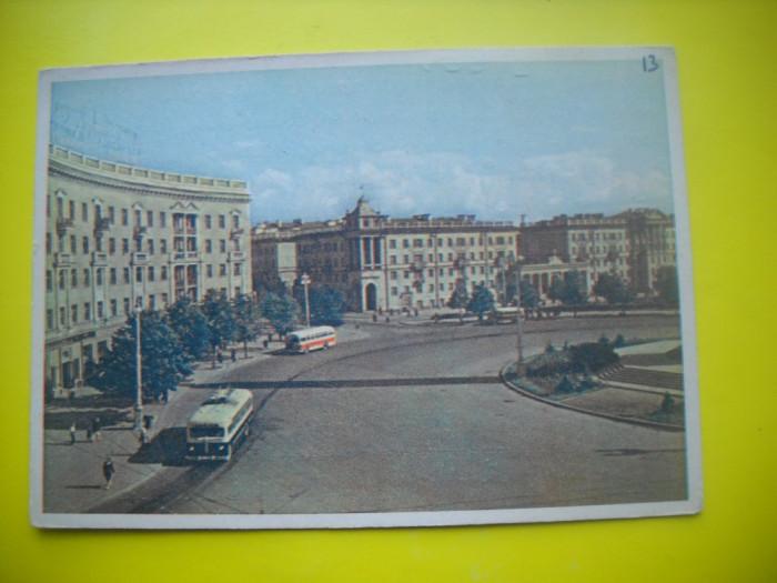HOPCT  37954  BELERUS MINSK /PIATA KRUGLAIA  IN 1961 -AUTOBUZ-CIRCULATA foto mare