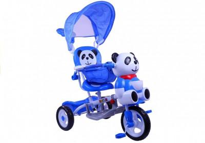 Tricicleta pentru copii cu ursulet panda, albastru foto
