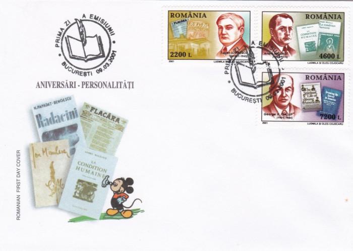 ROMANIA 2001  LP 1544  ANIVERSARI PERSONALITATI  I  FDC