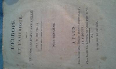 L'EUROPE ET L'AMERIQUE  DEPUIS LE CONGRES D'AIX-LA-CHAPELLE  1821 DE M.DE PRADT foto