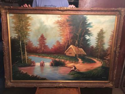 """PVM - Tablou mare """"Pescar pe Rau"""" ulei / panza semnat Karolyn vechime 80 ani foto"""