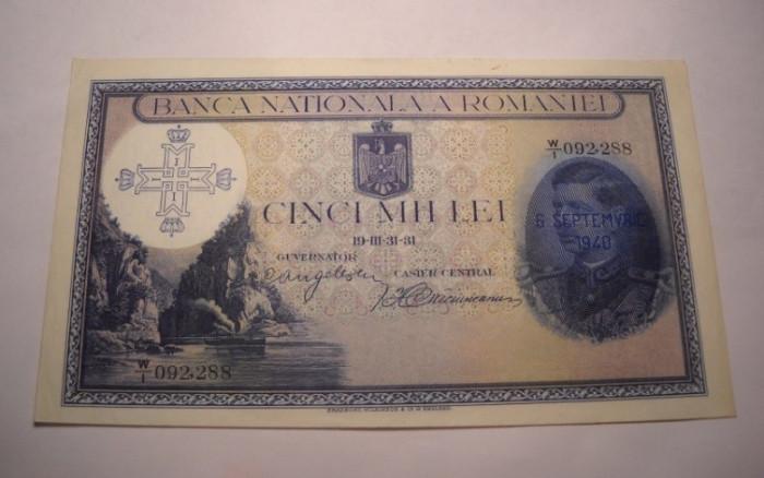 5000 lei 1931 Supratipar 1940 AUNC Rara foto mare