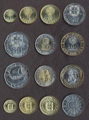 PORTUGALIA █ SET COMPLET MONEDE █ 1+5+10+20+50+100+200 Escudos █ 2000 █ UNC foto