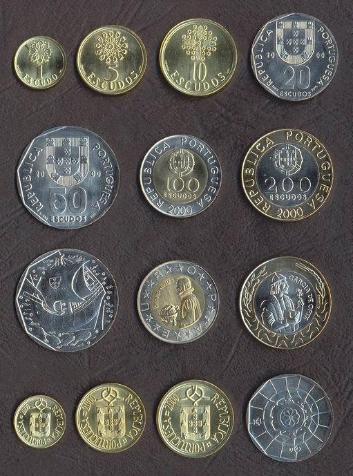 PORTUGALIA █ SET COMPLET MONEDE █ 1+5+10+20+50+100+200 Escudos █ 2000 █ UNC foto mare