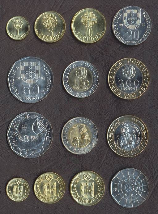 PORTUGALIA █ SET COMPLET MONEDE █ 1+5+10+20+50+100+200 Escudos █ 2000 █ UNC