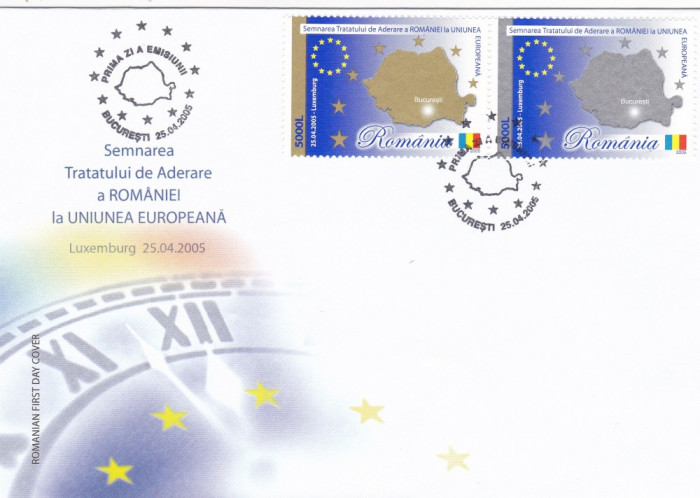 ROMANIA 2005 LP 1682  TRATATUL  DE  ADERARE  A  ROMANIEI  LA  UE  FDC foto mare