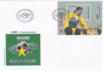 ROMANIA 2001  LP 1549  HAGI - 17 ANI SUB TRICOLOR  COLITA  FDC foto