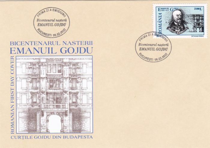 ROMANIA 2002  LP 1578  OAMENI DE SEAMA - EMANUIL  GOJDU   FDC