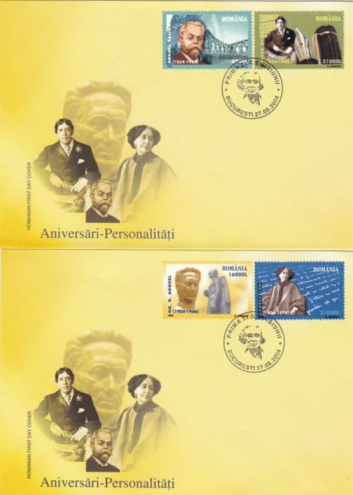 ROMANIA 2004  LP 1643  ANIVERSARI - PERSONALITATI  FDC foto mare