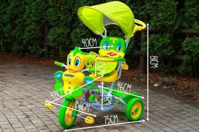 Tricicleta pentru copii cu efecte sonore, ratusca galben cu verde foto
