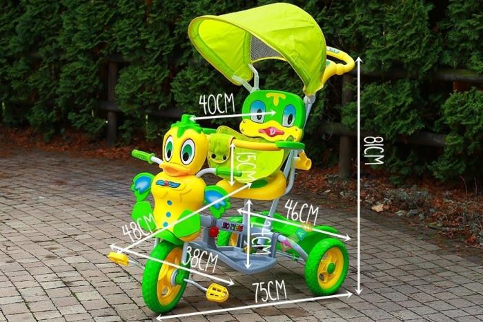 Tricicleta pentru copii cu efecte sonore, ratusca galben cu verde