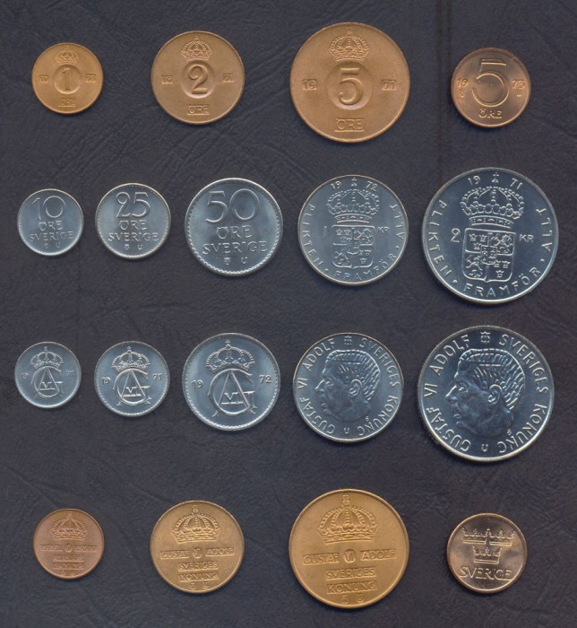 SUEDIA █ SET COMPLET MONEDE █ 1+2+5+5+10+25+50 Öre 1+2 Kronor  █ 1970-1973 █ UNC