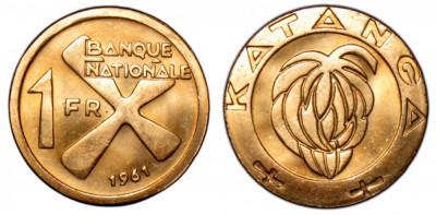 KATANGA █ MONEDE █ 1 Franc █ 1961 █ KM-1 █ UNC foto