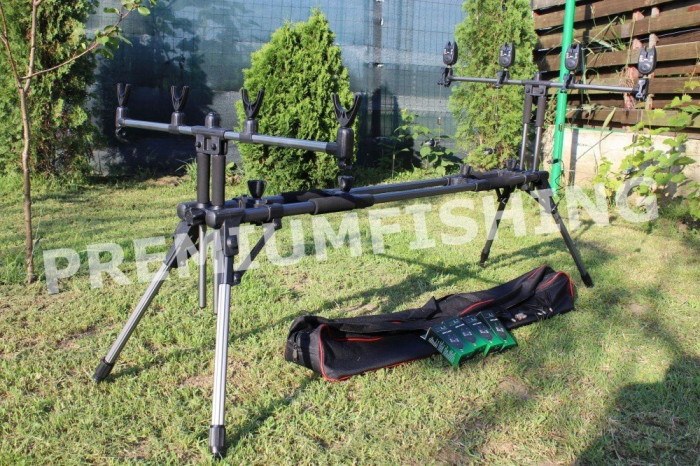 Rod Pod full Echipat Solid Carp Fx 4 Posturi + 4 Senzori + 4 Swingeri Lumino NOU