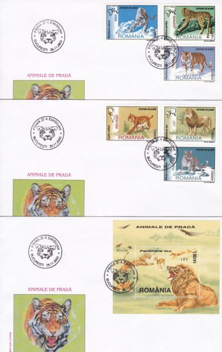 ROMANIA  2000  LP 1532  LP 1533  ANIMALE  DE  PRADA  SERIE + COLITA  FDC foto mare