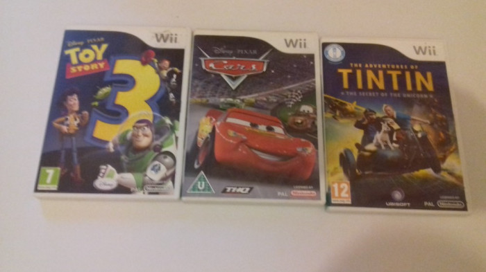 LOT 3 jocuri - Disney Cars + Toy Story 3 + Tintin - Nintendo Wii [Second hand] foto mare