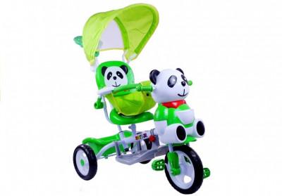 Tricicleta pentru copii cu ursulet panda, verde foto