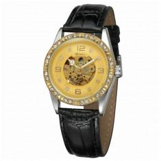 Ceas de dama, Winner schelet automatic-mecanic, Gold, bratara din piele neagra, rezistent la zgarieturi, stil fashion + cutie cadou