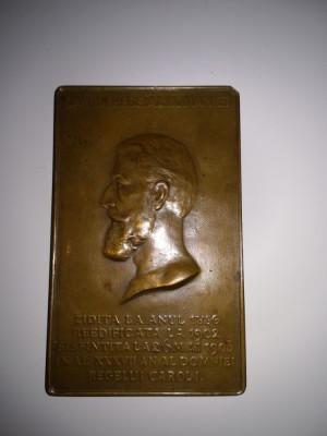 Medalie plachetă Carol I 1902 foto