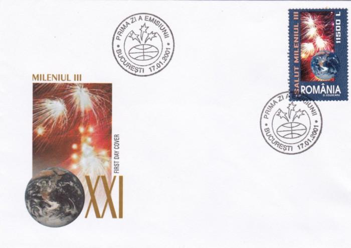 ROMANIA 2001 LP1539  SALUT  MILENIUL III  FDC foto mare