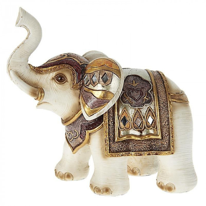Elefant deco multicolor din rasina 17cm x 9cm x 15cm foto mare