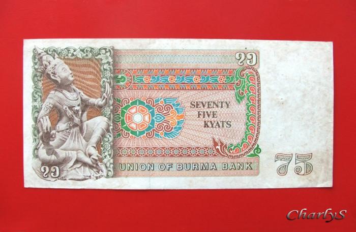 BURMA  -  75 Kyats  1985 foto mare