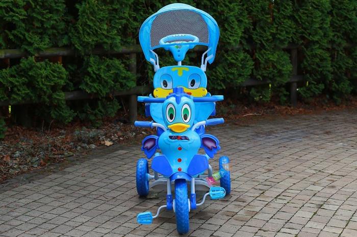 Tricicleta pentru copii cu efecte sonore, ratusca albastru foto mare