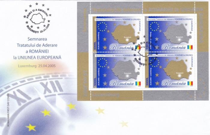 ROMANIA 2005 LP 1682a TRATATUL DE ADERARE A ROMANIEI LA UE BLOC DE 4 TIMBRE FDC