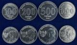 INDONEZIA █ SET COMPLET DE MONEDE █ 100+200+500+1000 Rupees █ 2016 █ UNC