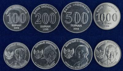 INDONEZIA █ SET COMPLET DE MONEDE █ 100+200+500+1000 Rupees █ 2016 █ UNC foto