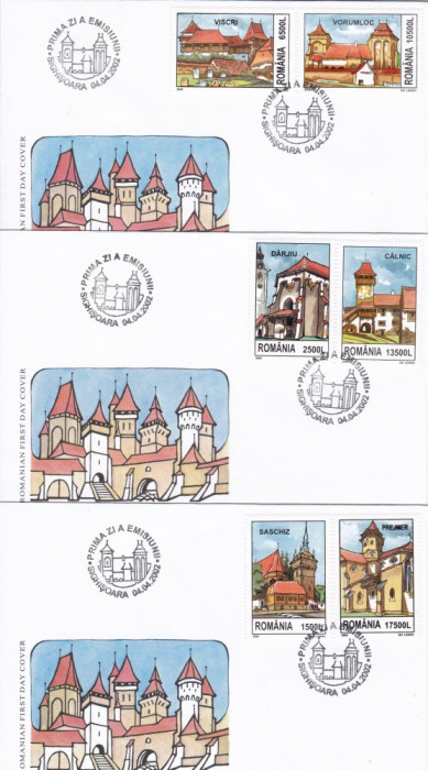 ROMANIA 2002  LP 1582  CETATI  SASESTI  TARANESTI  DIN TRANSILVANIA  FDC