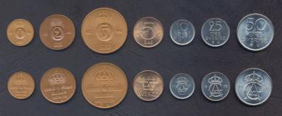 SUEDIA █ SET DE MONEDE █ 1+2+5+5+10+25+50 Öre █ 1971-1973 █ UNC foto