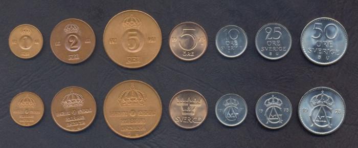 SUEDIA █ SET DE MONEDE █ 1+2+5+5+10+25+50 Öre █ 1971-1973 █ UNC foto mare
