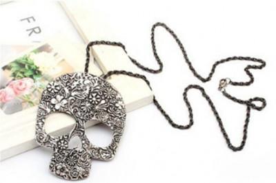 Pandantiv  skeletron skelet cu lant atasat fashion vintage skull cap de mort foto