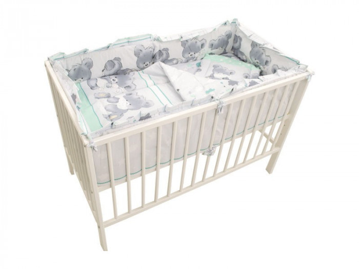 Lenjerie MyKids Teddy Hug Turquoise M1 4+1 Piese 120x60 foto mare