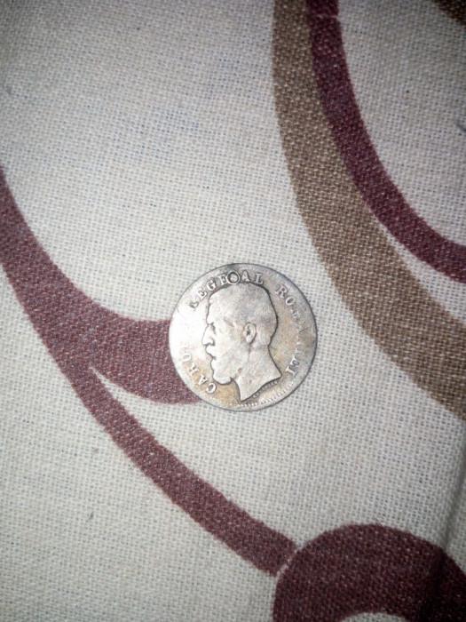 Moneda 50 bani Carol I 1885 din argint
