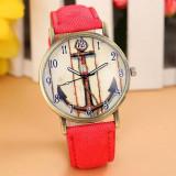 Ceas Dama Quartz Design Ancora culoare rosu, Piele - imitatie, Analog
