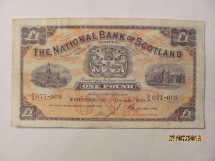 CY - Pound 1 decembrie 1949 The National Bank of Scotland Scotia