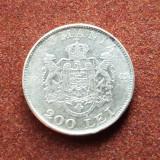 Romania 200 lei 1942 cu eroare,bataie slaba avers-revers, Argint