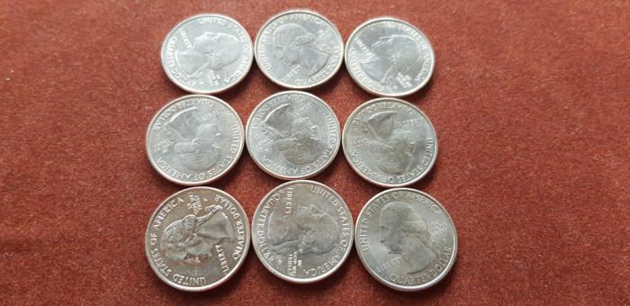 USA Quarter dollar a unc-unc set 9 buc