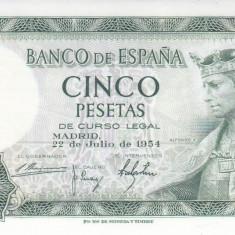 Bancnota Spania 5 Pesetas 1954 - P146 UNC