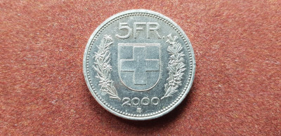 Elvetia 5 franci 2000 frumos foto