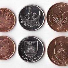 KIRIBATI █ SET DE MONEDE █ 1+2+5 Cents  █ 1979-1992 █ UNC