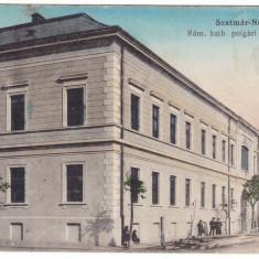 #2216- Romania, Szatmar-Nemeti, Satu Mare c.p. circ. 1918: Scoala fete rom.cat., Circulata, Fotografie